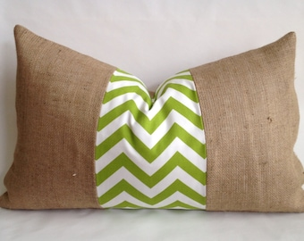 Green Chevron Fabric & Burlap Lumbar Pillow Cover