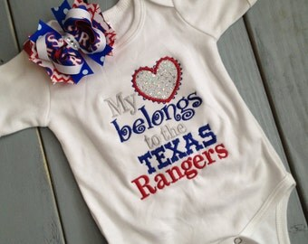 Custom My Heart Belongs to the Texas Rangers Boutique Shirt