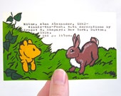 Winnie the Pooh Library Card Art - Print of my painting of Winnie-the-Pooh stuck in a rabbit hole - A. A. Milne