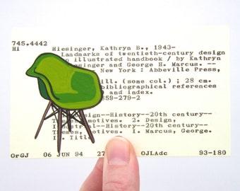 Eames Chair Library Card Art - Print of painting of green Eames chair on library card for the book Landmarks of Twentieth-Century Design