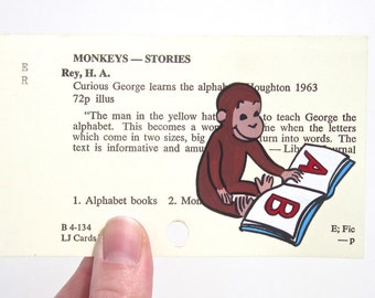 Curious George Library Card Art - Print of my painting of Curious George and book on card for Curious George Learns the Alphabet