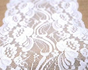 Burlap Tablerunner, White Lace, Country, Shabby Chic, Vintage, or  Rustic Wedding