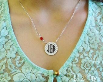 "1"" enameled chevron circle monogram necklace with Swarovski crystal"