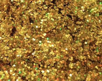 SALE Holographic Gold Glitter Medium Hexagon Cut 1 oz 0.062 Hex for Nail Art Scrapbooking and Crafts