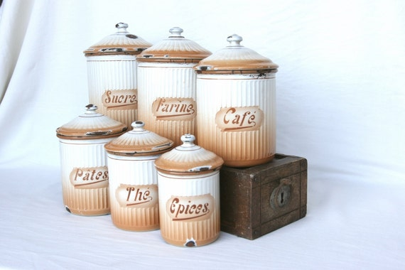 Items similar to french enamelware canister set french for Kitchen decor items