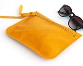 SUNFLOWER - leather pouch, leather wallet in yellow - LeahLerner