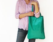EMERALD Green leather bag, leather tote bag, shopper bag, blue tote - LeahLerner
