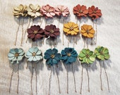 Leather flower bobby pin hair pin - set of 2 choose your color