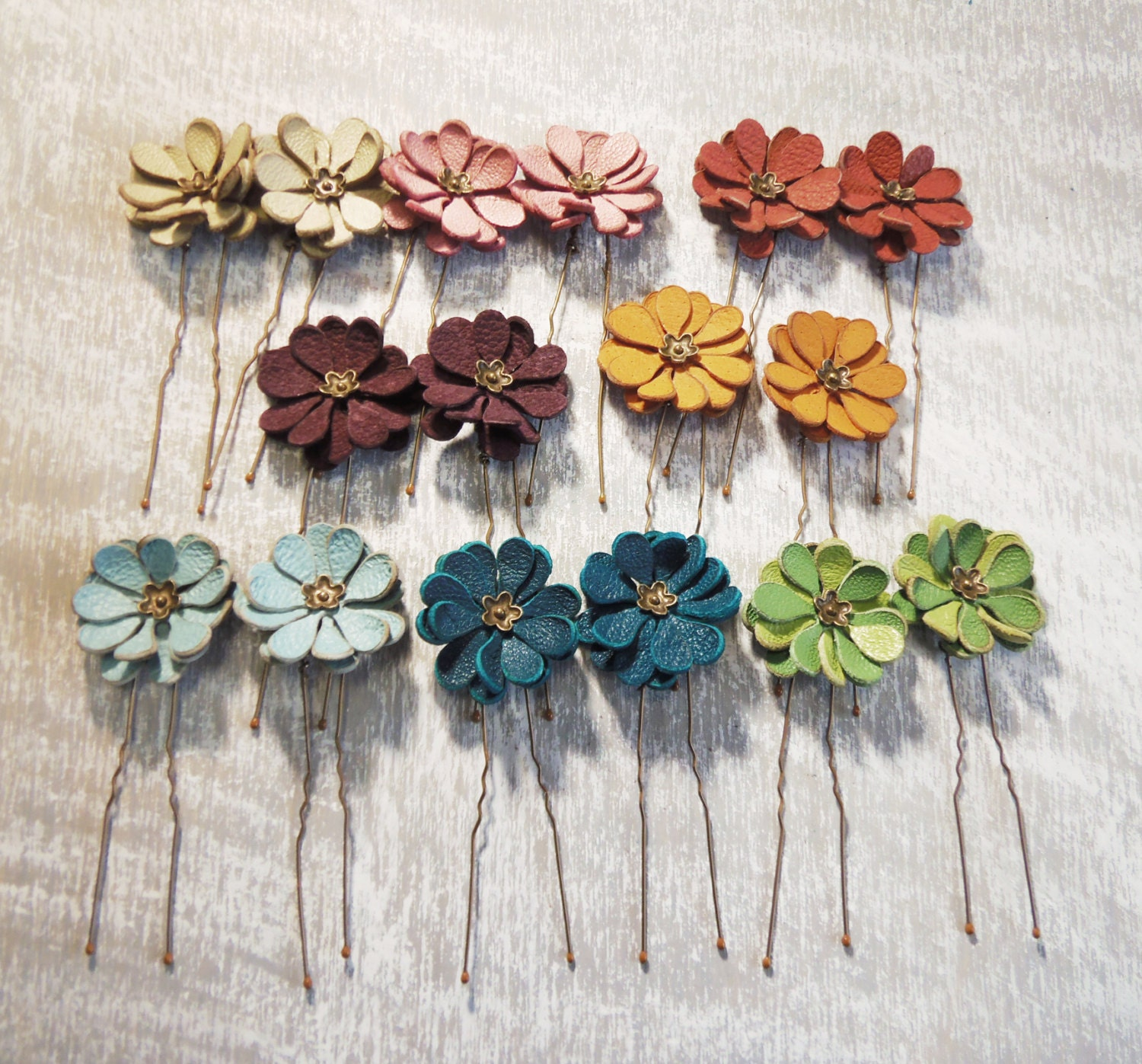Leather flower bobby pin hair pin set of 2 by agatechristina for Leather flowers for crafts