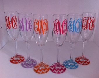 monogrammed set of 6 Champagne Flutes-CHEVRON base