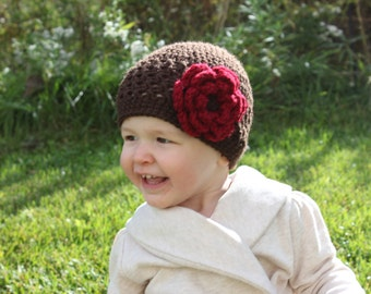 Baby Girl Crochet Flower Hat, Girl Hat, Toddler Girl hat, Brown and Red