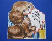 1946 Hallmark CHARMING SPANIEL PUPPY Birthday Greeting Card--Adorable Artwork