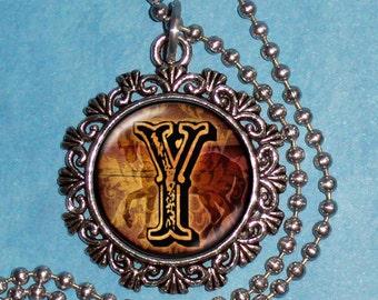 """Letter """"Y"""" Art Pendant,  Alphabet Resin Pendant, Vintage Silver, Black & Brown Photo Pendant"""