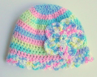 Preteen Girl Flower Hat Toddler  Cap Beanie Fall Cloche  2 3 4 5 Years Old Pastel Rainbow Green Yellow Purple Blue Pink Winter Clothing