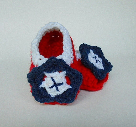 Patriotic July 4  Baby Girl Crochet Sandals 3 To 6 Month Old  Infant Red White Blue Summer Booties