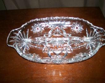 Vintage Early American Prescut (Star of David) Divided Relish Dish