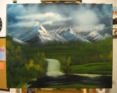 "16 X 20 ""Mountain Waterfall at Midnight"" landscape oils on black canvas painting."