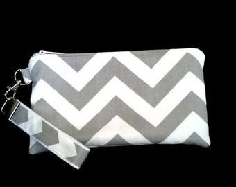 Grey Chevron Wristlet purse