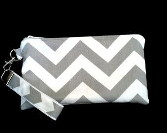 Grey Chevron Wristlet purse