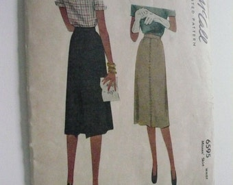 Vintage McCall Pattern 6595  Misses Skirt Waist 28 Inches Factory Fold
