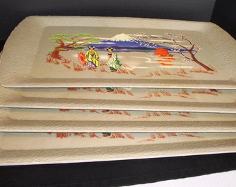 Kentley Serving Trays - Oriental Scene - Vintage Kentley Trays - Set of 4 Trays - Snack Trays - Lap Trays