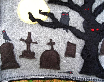 upcycled woolsweater tote bag with Graveyard Scene Tombstones, full moon, owl, crow, rat, mouse, Grey Red Black