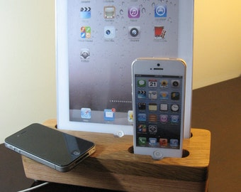 Hand made (USA) oak docking and charging station for all iPads 1 2 3 4 & mini iPad  and iPhone 4 and 5 and 6 and 6 plus .