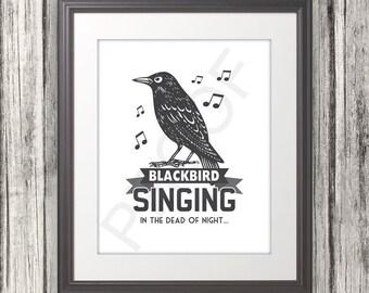 Beatles inspired - Blackbird Singing - 8x10 Print