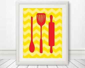 Spoon Spatula Rolling Pin Print Poster, Mid Century Art, Chevron Print, Kitchen Art, Retro - Spoon Spatula Rolling Yellow Chevron - 11x14