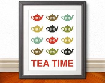 Teapots Print Poster, Mid Century Art, Quote Print, Kitchen Art, Retro - Tea Time 11x14