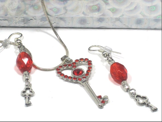 RESERVED FOR CAREY: Skeleton Key Necklace Earring Red Heart