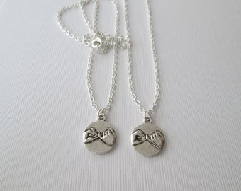 2 Pinky Pomise, Best Friends Necklaces/ sister gift, mother daughter, 2 friends, long distance friendship, miles away, bff