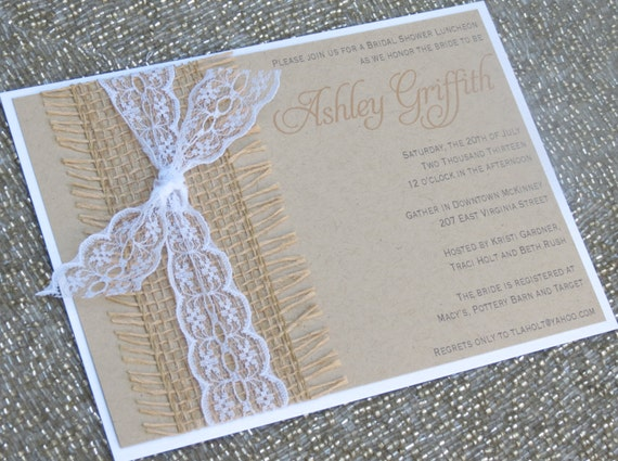 Wedding Invitations With Burlap: BECKY: Kraft And Lace Wedding Invitation By Peachykeenevents