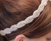 "Crystal Headband, Headpiece, Hair Accessory, Tiara. IVORY or WHITE Satin Ribbon. Wedding, Bridal , Prom, Formal Bling...""Joanna"""