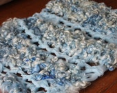 Hand Crocheted, Baby OOAK Photography Prop Blanket in Blue/White Wool Locks with Tule