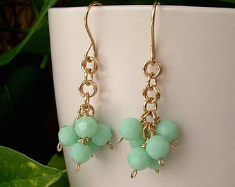 Gold Chainmaille Earrings, Mint Alabaster Swarovski Crystal Drops