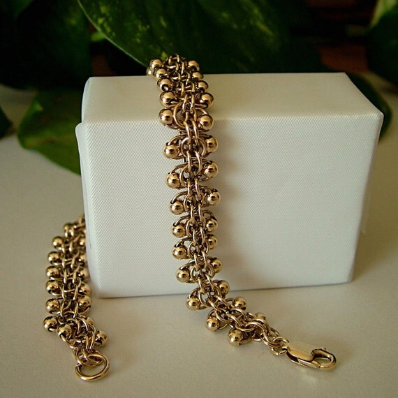 Gold Chainmaille Bracelet, Gold Filled Bracelet, Roosa Chainmaille