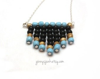 Blue, Gold and Black Chevron Necklace - Seed Bead Necklace - Gifts under 25