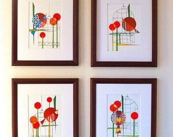Set of four 5x7 prints, Mid Century Modern Bird Decor, Flight To The Riviera by Dominic Bourbeau,minimalist, bold, atomic style, Modern Ranc