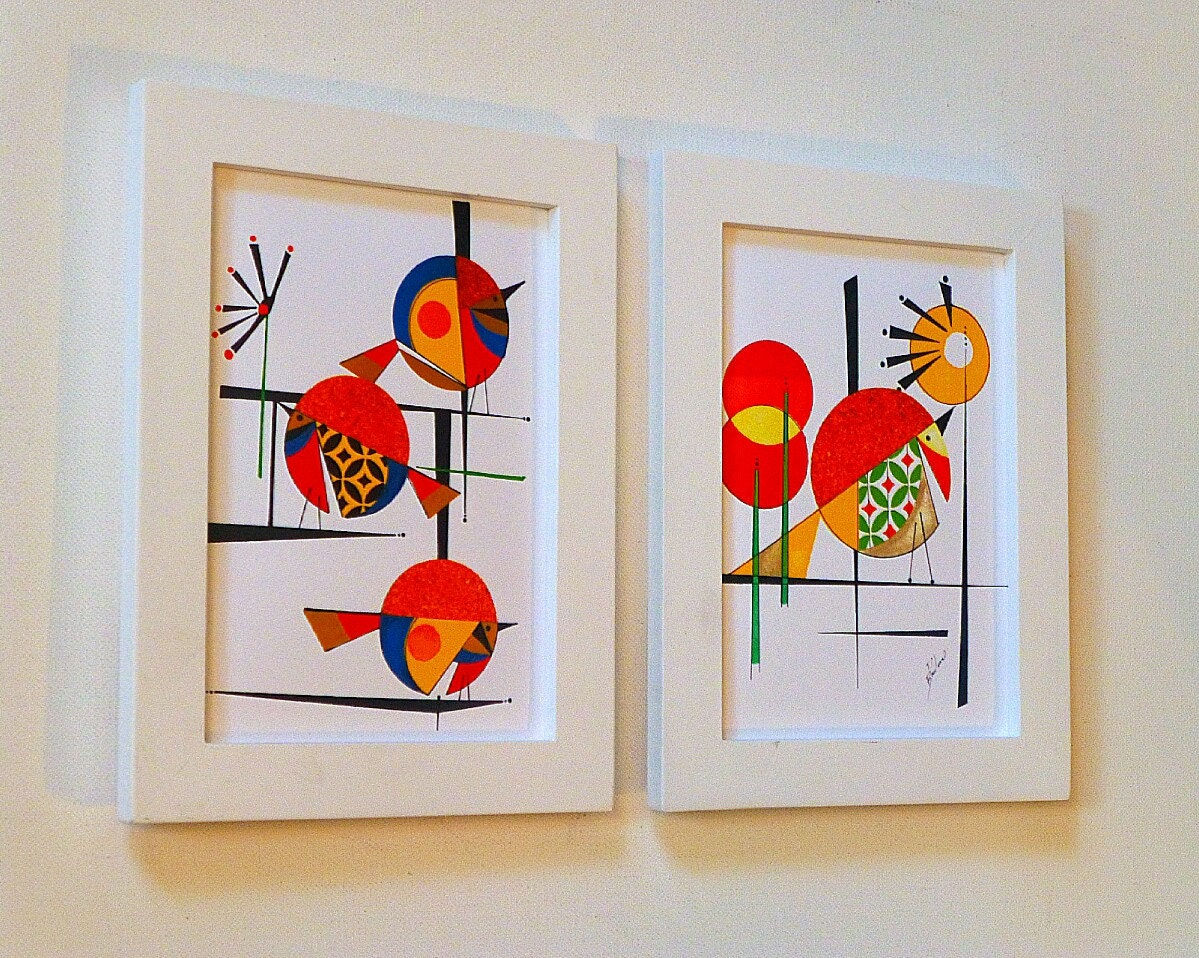 mid century modern bird art the flight of by colbyandfriends. Black Bedroom Furniture Sets. Home Design Ideas