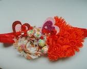 Floral Heart Headband - Coral Pink Headband - Beaded Headband - Boutique Headband