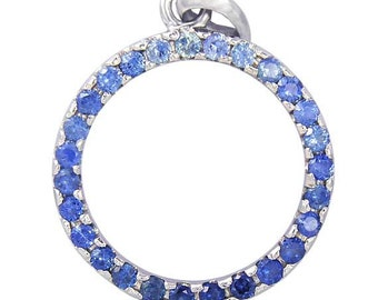 Blue Sapphire Ombre Circle Pendant 925 Sterling Silver: sku 335-BS-925