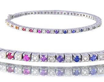 2.8ct Multicolor Rainbow Sapphire & Diamond 925 Sterling Silver Tennis Bracelet : sku 1860-925