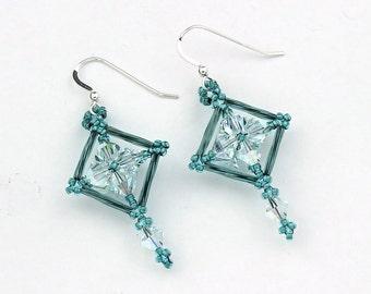 Seed Bead, Bugle Bead, and Swarovski Crystal Earrings in Seafoam Green