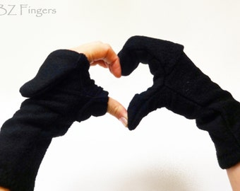 Glittens Convertible Mittens Fingerless Gloves Unisex One Color