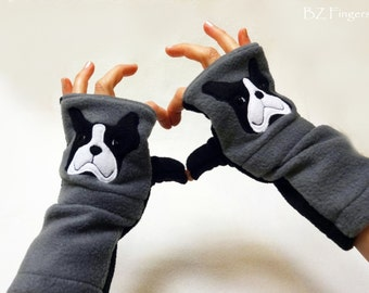 French Bulldog Gift. Fingerless Gloves with Pockets for Dog Lovers