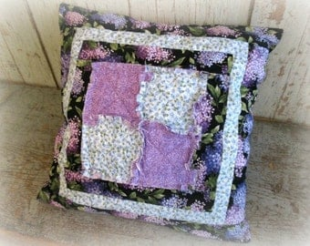 quilted rag style lilac pillow / handmade