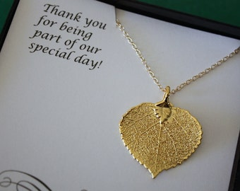 3 Bridesmaid Necklace, Bride Gift, Real Leaf Necklaces, Thank You Card, Gold Apsen Leaf