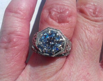 Gorgeous 14 kt. Gold Plated Sterling Silver Edwardian Style Engagement Ring