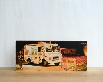 "Icecream Truck, Photo Art Block, Limited Edition Image Transfer on 6""x14"" Wood Panel, 'Matt's Dairy' by Patrick Lajoie, fall fair, carnival"